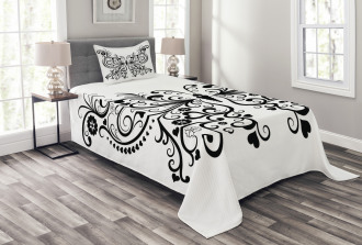 Swirled Wing with Flower Bedspread Set