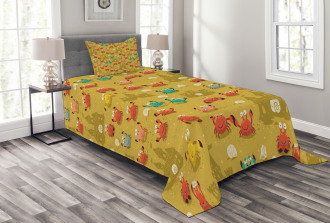 Crab Shell Sand Castle Bedspread Set