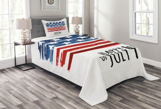Artistic US Flag Bedspread Set