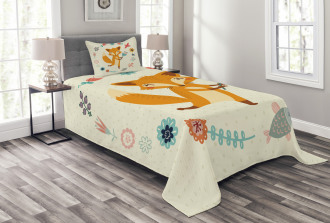 Cute Animal with Floral Bedspread Set