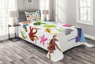 Sea Animals Octopus Fish Bedspread Set
