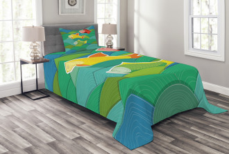 Sea Marine Waves Funky Bedspread Set