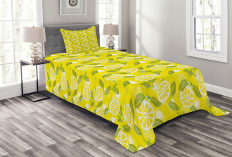 Fresh Lemons with Leaves Bedspread Set