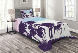 Watercolor Style Trees Bedspread Set