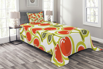 Cherry and Leaves Pattern Bedspread Set