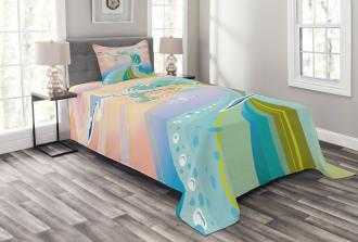 Cartoon like Waves Bedspread Set