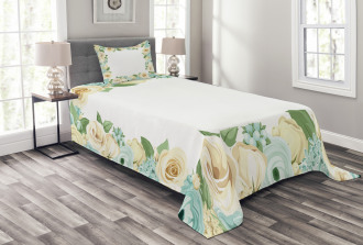 Flower Roses Leaves Bedspread Set
