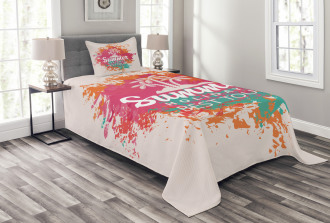 Lettering and Palms Bedspread Set