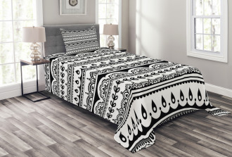 Ethnic Borders with Leaf Bedspread Set