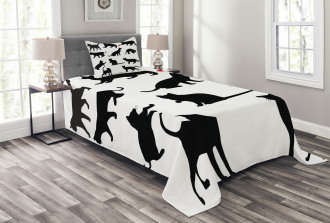 Red Ball Animal Pet Kittens Bedspread Set