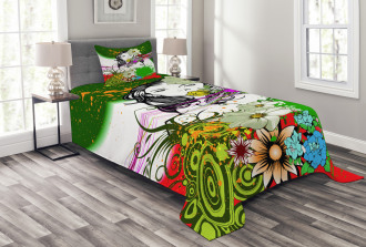 Tropical Flowers Spirals Bedspread Set