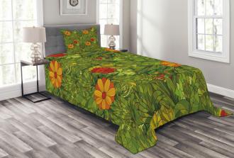 Fractal Retro Jungle Art Bedspread Set