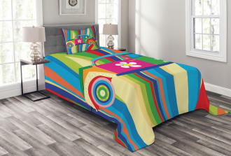 Hippie Style Classic Car Bedspread Set