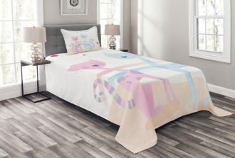 Cat Love Tulip Hearts Bedspread Set