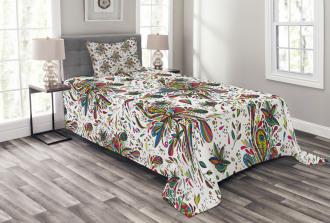 Ethnic Flora Pattern Bedspread Set