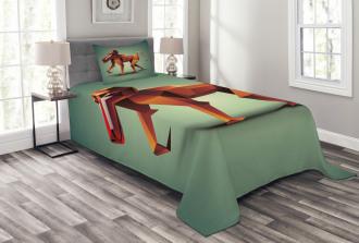 Polygonal Wild Monkey Bedspread Set