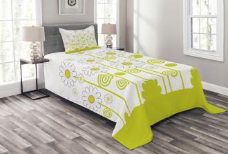 Daisises Flowers Garden Bedspread Set
