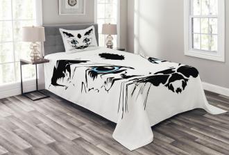 Big Cat Face Pet Sketchy Bedspread Set