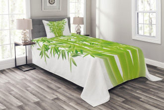 Bamboo Stems with Leaves Bedspread Set