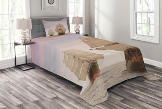 Wooden Sailing Ship Waves Bedspread Set