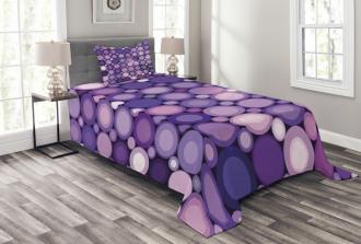 Geometric Violet Circles Bedspread Set