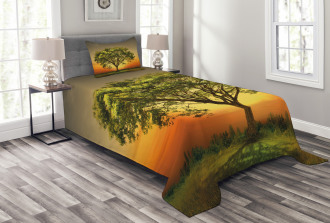 Sunset Scenery Valley Bedspread Set