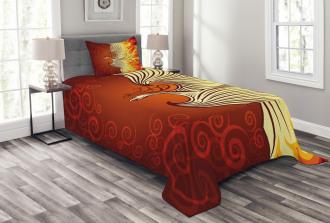 Phoenix Bird in Flame Bedspread Set