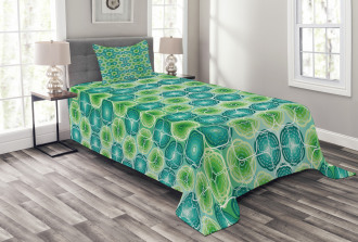 Vector Pattern Flowers Bedspread Set