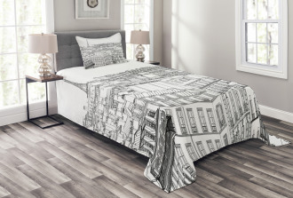 Roofs in Paris and Eiffel Bedspread Set