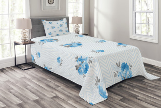 Blue Color Romantic Flower Bedspread Set