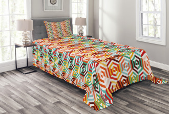 Hexagonal Shape Retro Bedspread Set