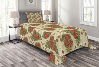 Flowers in Autumn Theme Bedspread Set