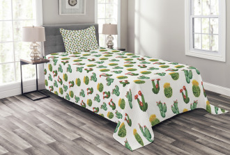 Cactus and Suculent Print Bedspread Set