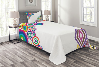 Colored Rectangle Form Bedspread Set