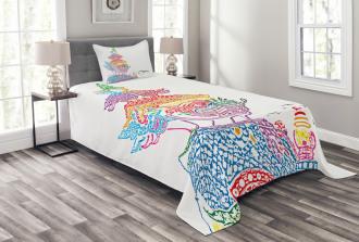 Asian Religious Bird Bedspread Set
