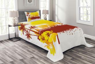 Palm Trees Sealife Ocean Bedspread Set