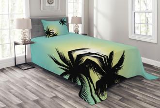 Hawaiian Miami Beach Sun Bedspread Set