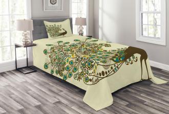 Peacock Bird Profile Bedspread Set