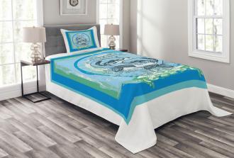 Asian Koi Fish Pattern Bedspread Set