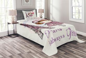 Hearts on Eiffel Tower Bedspread Set