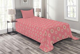 In Love Theme Flowers Bedspread Set