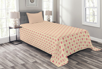 Hearts in Soft Colors Bedspread Set
