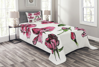Garden Flowers Rose Buds Bedspread Set