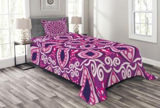 Lace Trippy Flowers Leaf Bedspread Set