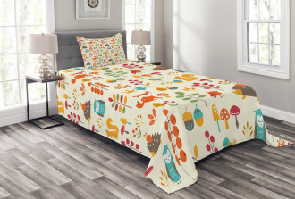 Owl Fox Squirrel Birds Bedspread Set