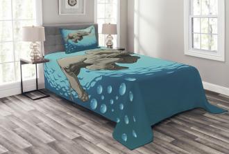 Elephant in Tropic Ocean Bedspread Set