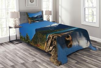 Winter Mountain Trees Bedspread Set