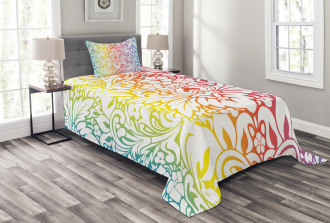 Colorful Damask Flowers Bedspread Set