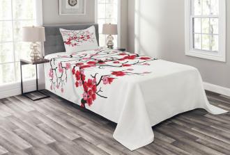 Blossoms Sakura Plant Bedspread Set