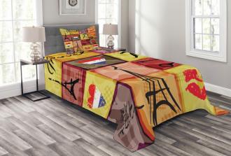 French Paris Collage Bedspread Set